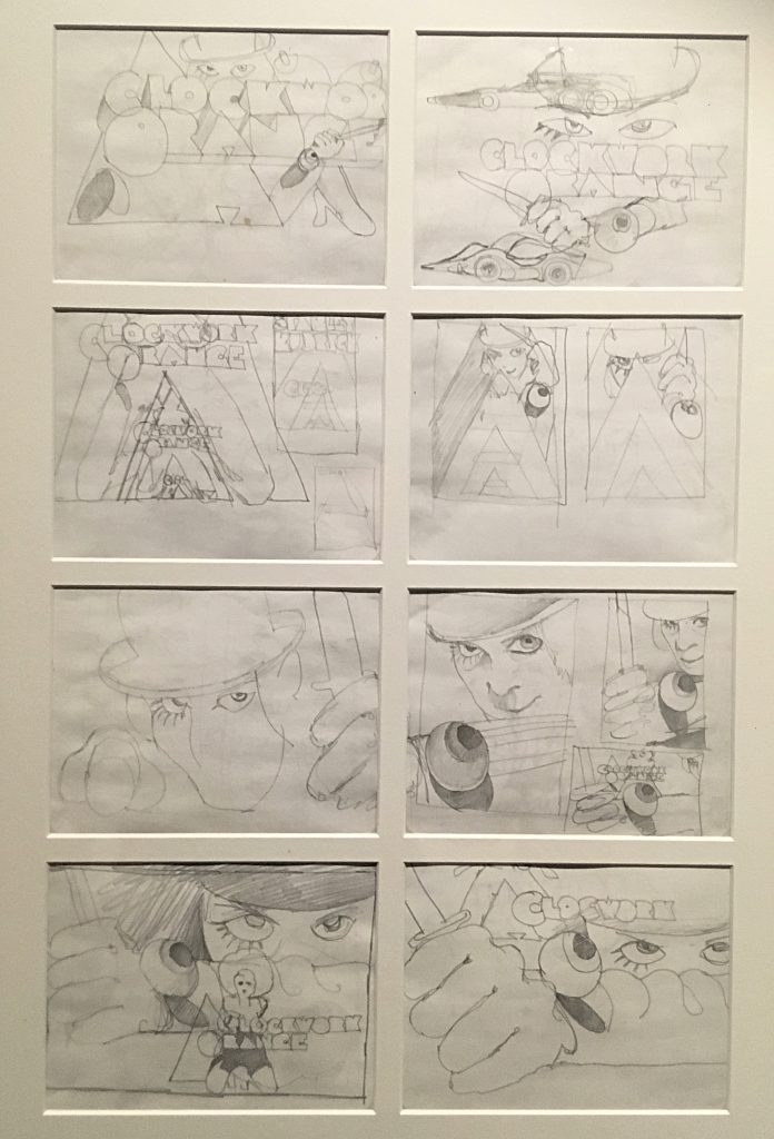 Preliminary sketches for A Clockwork Orange's main poster from Stanley Kubrick: The Exhibition