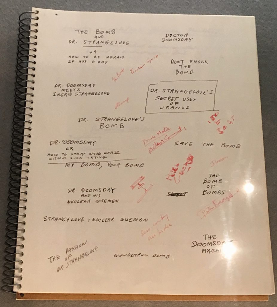 Stanley Kubrick's sketch book featuring alternative titles for Dr Strangelove at Stanley Kubrick: The Exhibition