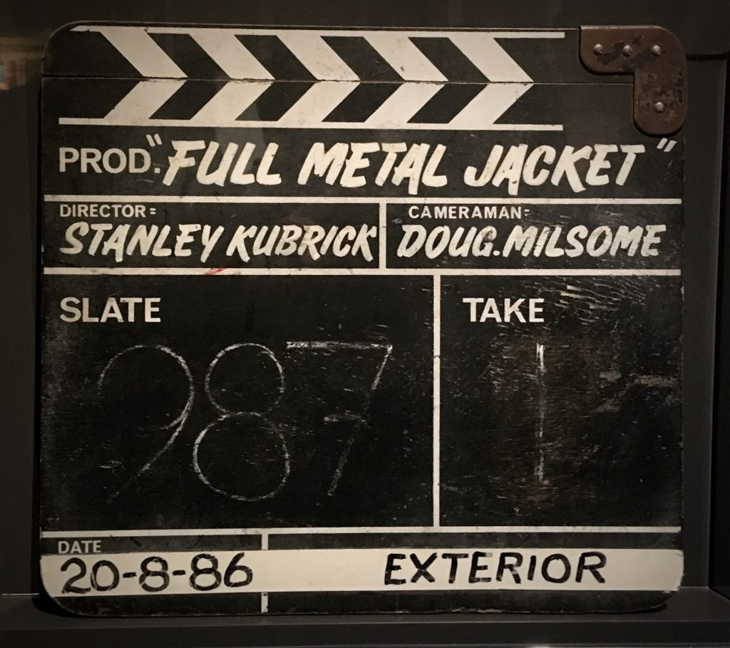 Clapperboard from 'Full Metal Jacket' from Stanley Kubrick: The Exhibition