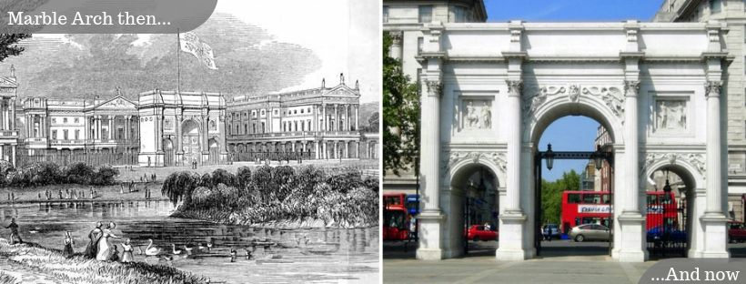 Marble Arch then and now: Outside its original location at Buckingham Palace and the present day Marble Arch junction