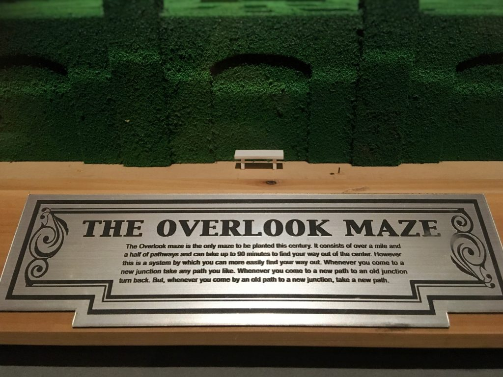 Plaque from the model of the Overlook Hotel's maze, as seen in The Shining at Stanley Kubrick: The Exhibition