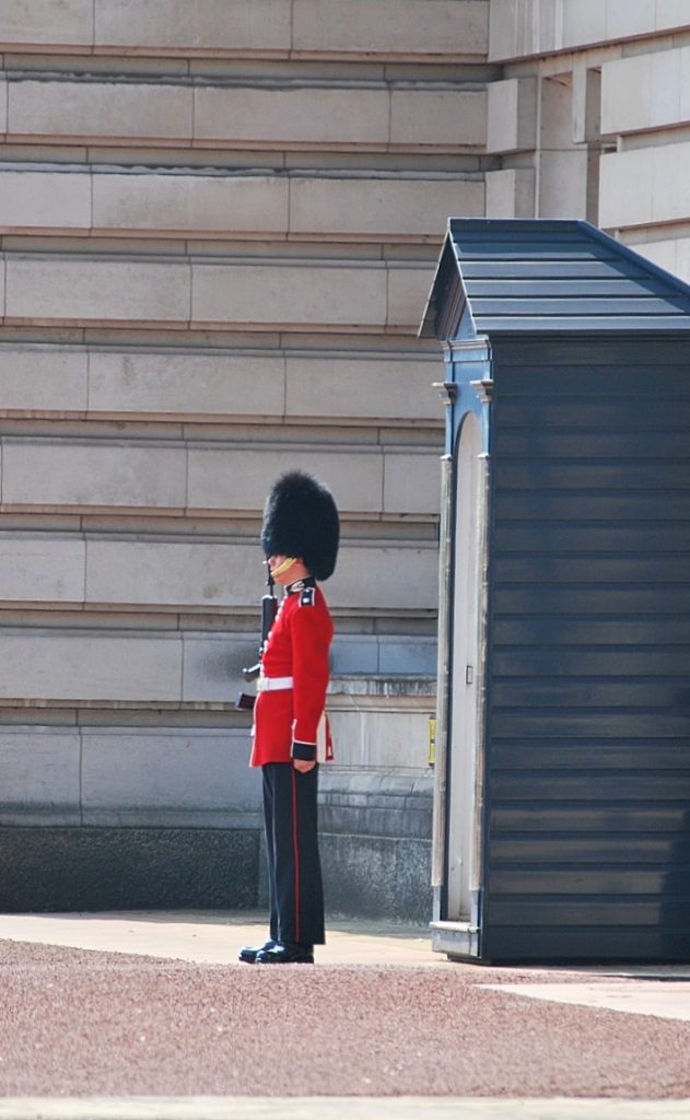 Royal Guard outside in the grounds of Buckingham Palace