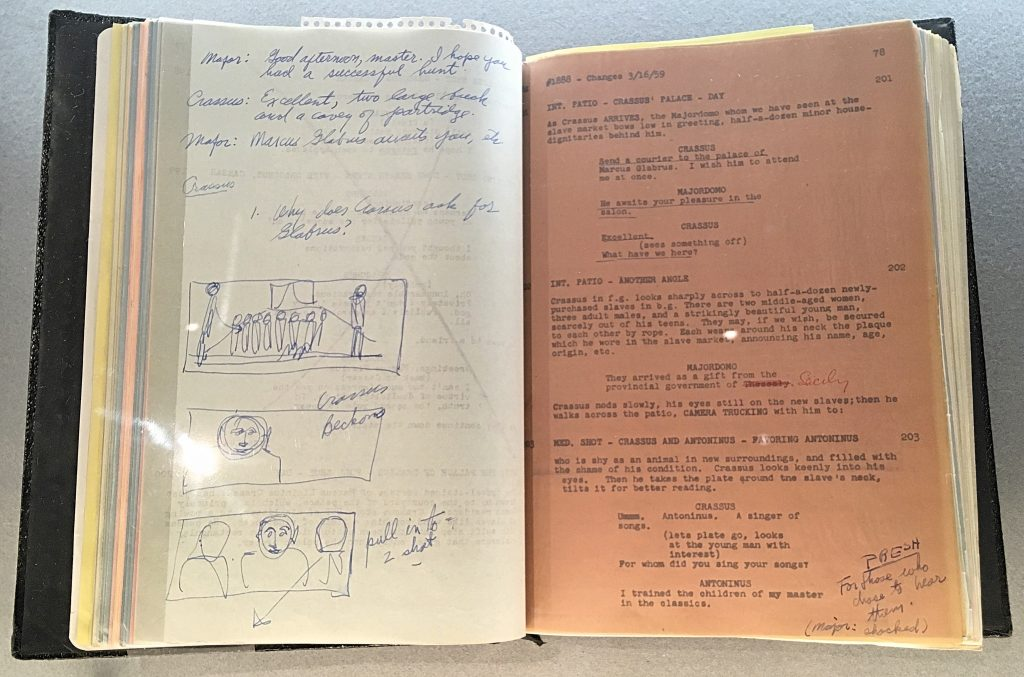 Kubrick's script and notes from Spartacus from Stanley Kubrick: The Exhibition