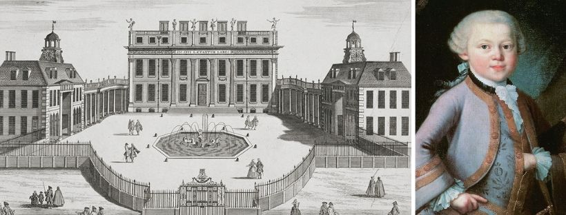 Young Mozart and the Queen's Palace (later to become Buckingham Palace) as it would've appeared at the time of his visit.
