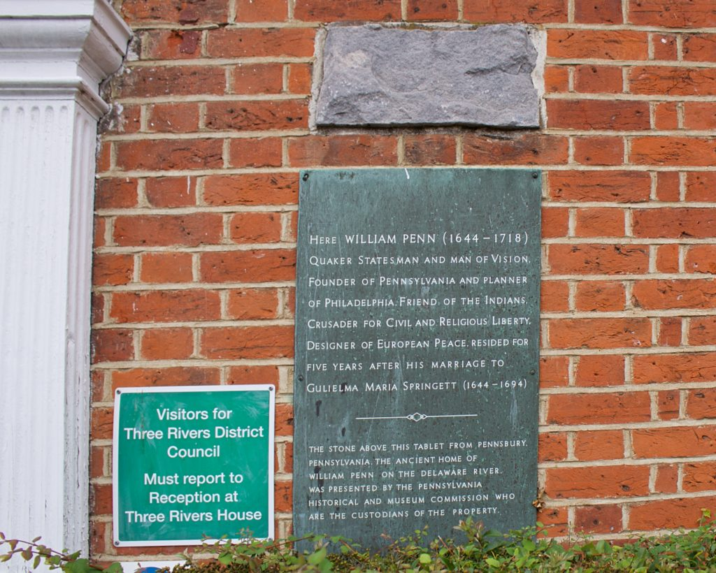 William Penn Plaque, Basing House Rickmansworth