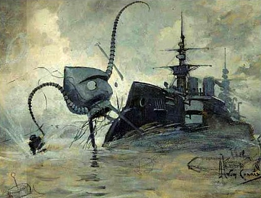Martian fighting machine versus the Thunder Child; a 1906 illustration by Brazilian artist, Henrique Alvim Corréa