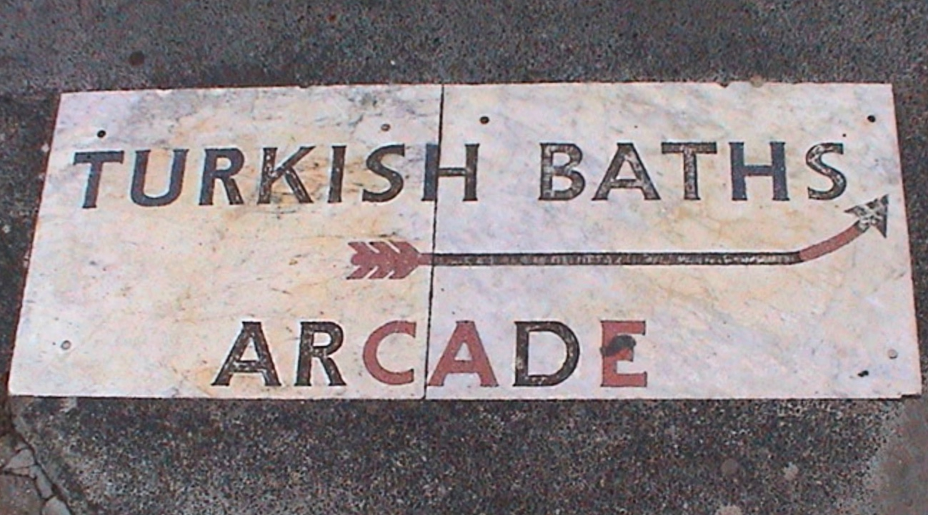 Bloomsbury: Ghost sign for the Imperial Hotel's former Turkish Baths (image: London Remembers)