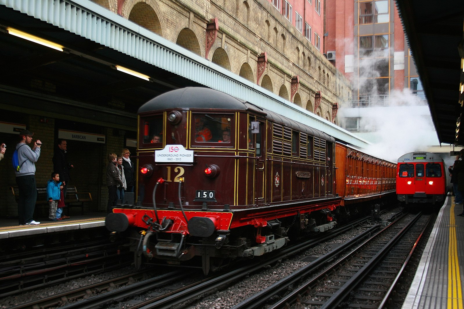 The preserved Sarah Siddons locomotive (built in the early 20th century, seen here at Barbican station.