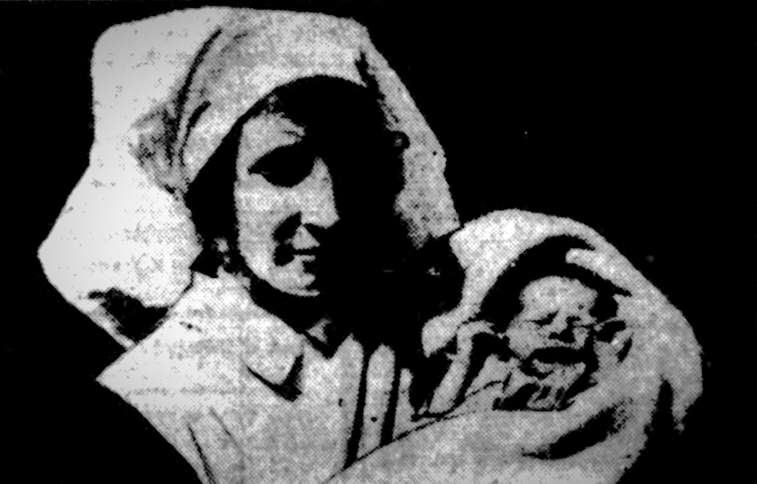 A nurse with baby Marie, the first child to be born on the tube network.