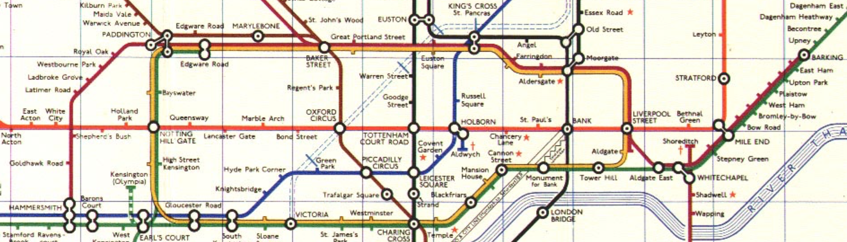 1968 tube map showing the route of the Hammersmith & City line in the days when it was covered by the Metropolitan line.