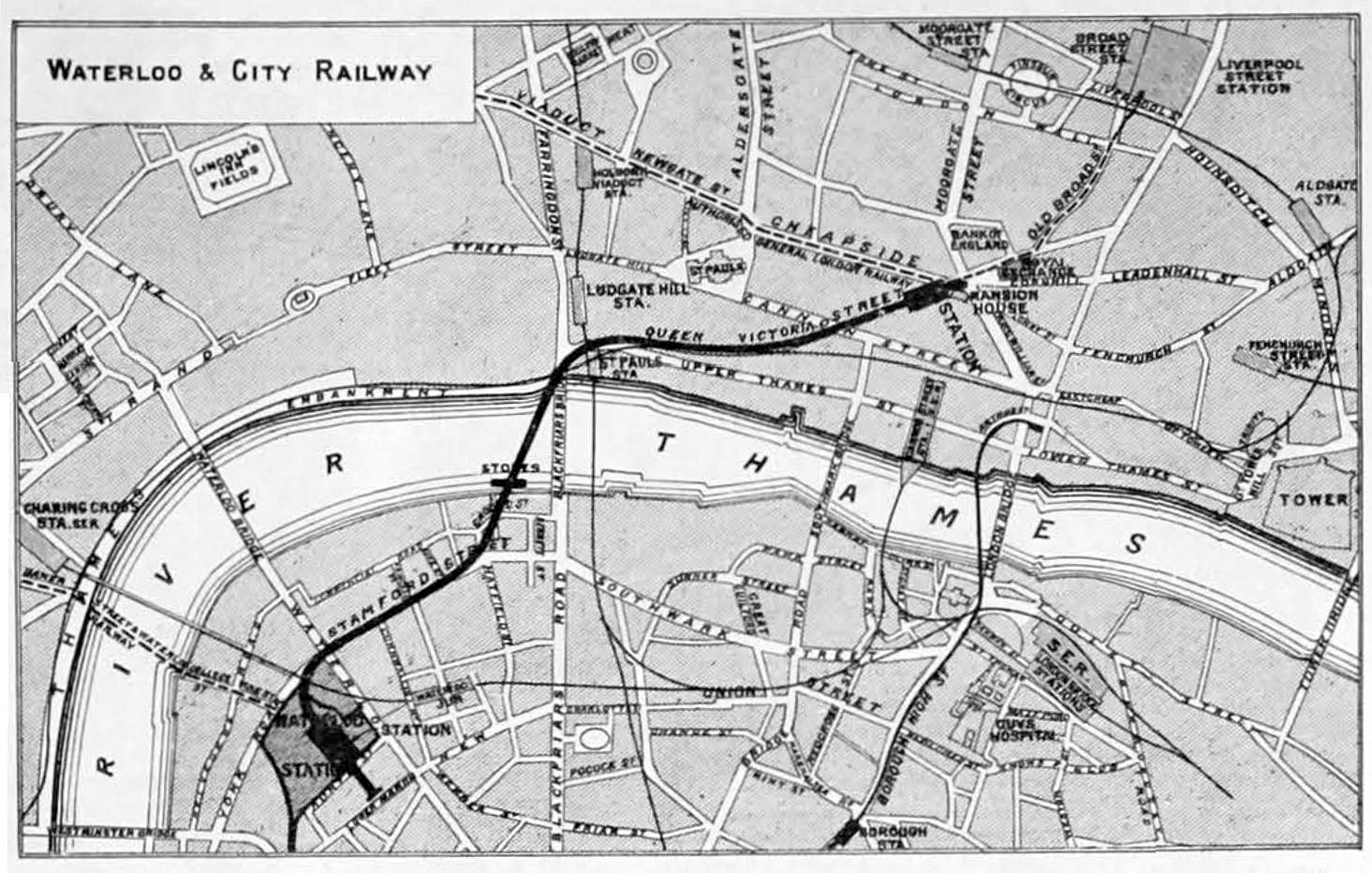 Route of the Waterloo & City Railway (image: Wikipedia)