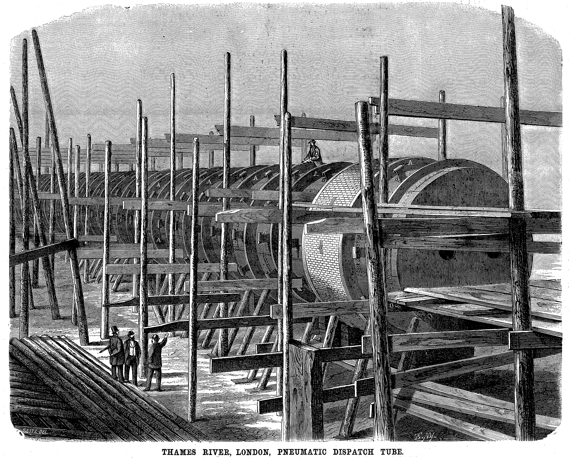 Construction of a pneumatic tube, intended for the failed Waterloo & Whitehall Railway