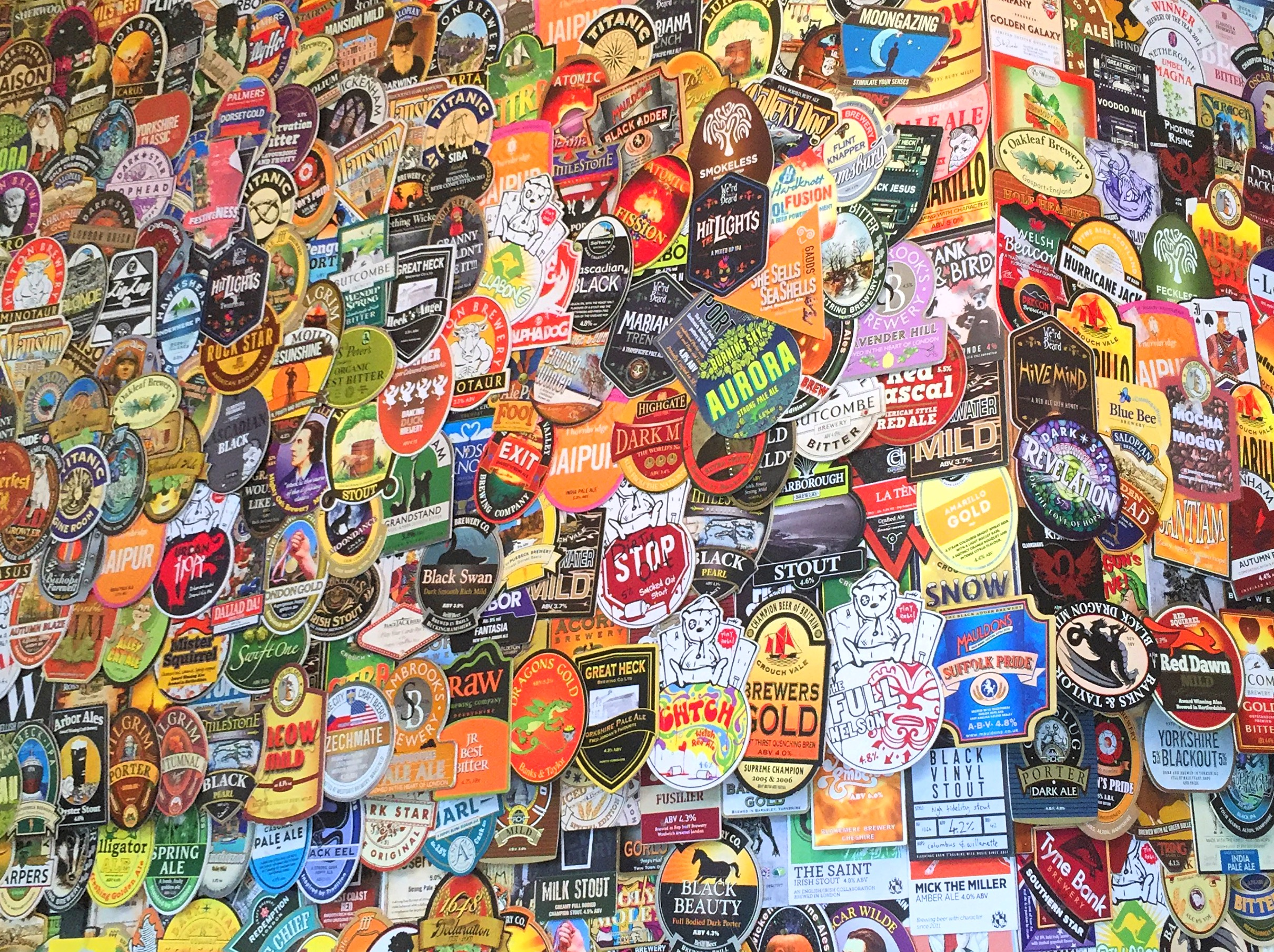 Collection of beer mats inside the Harp, Covent Garden