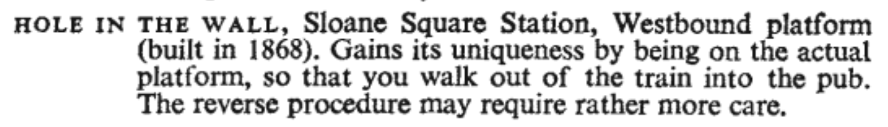 Description of Sloane Square's 'Hole in the Wall' pub from a 1950s guide to London