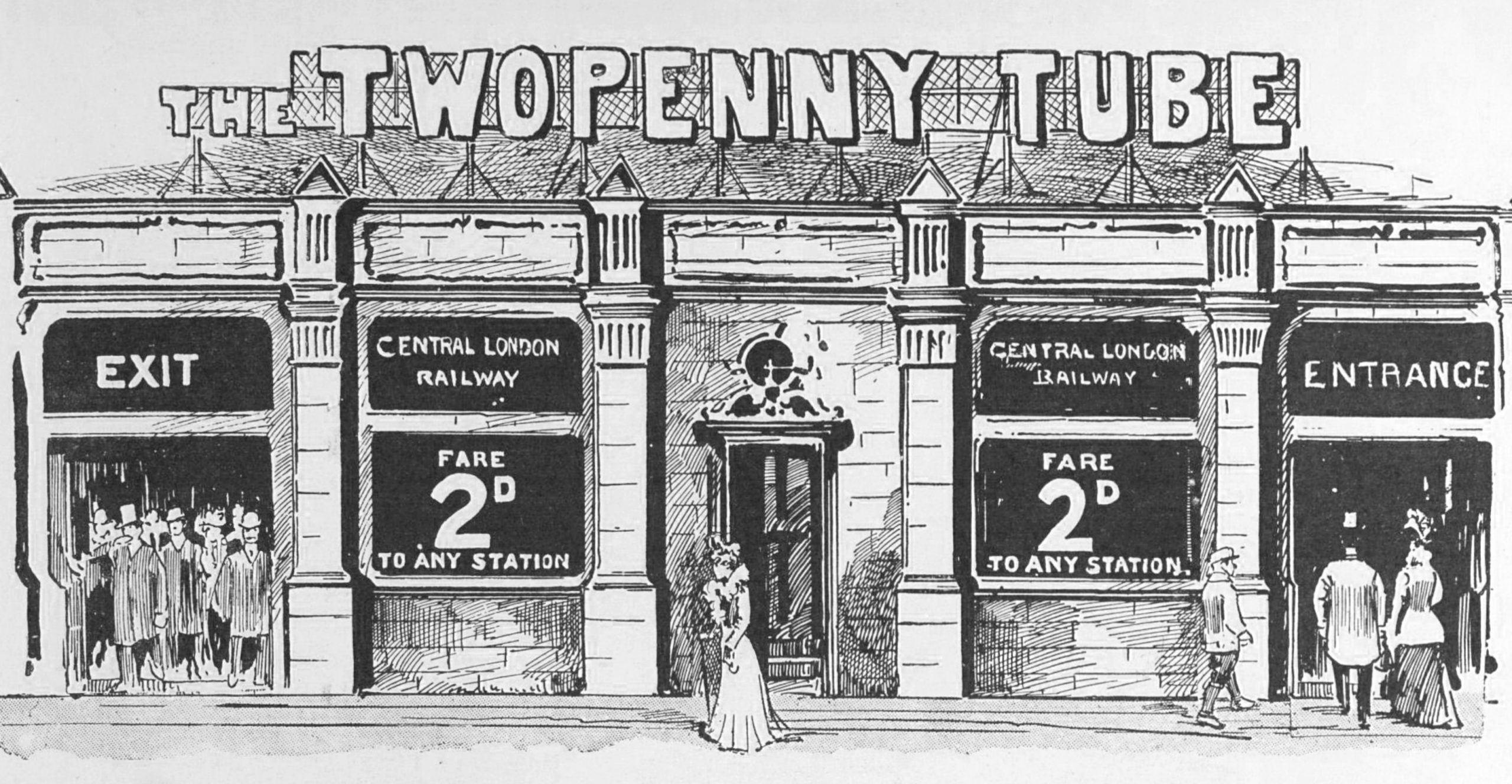 An advertisement featuring the Twopenny Tube from December 1900