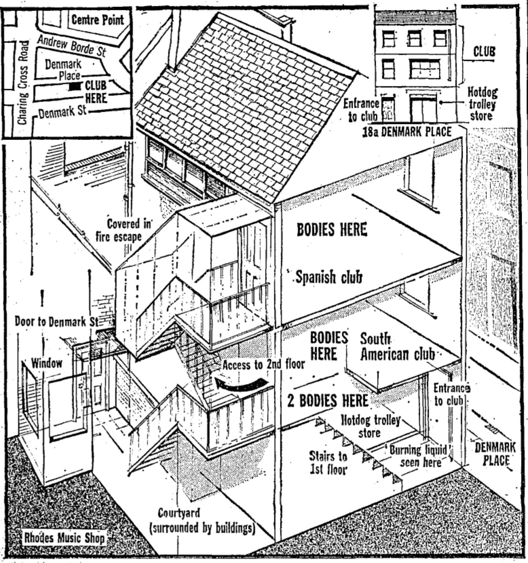 Denmark Place, diagram of the Spanish Rooms
