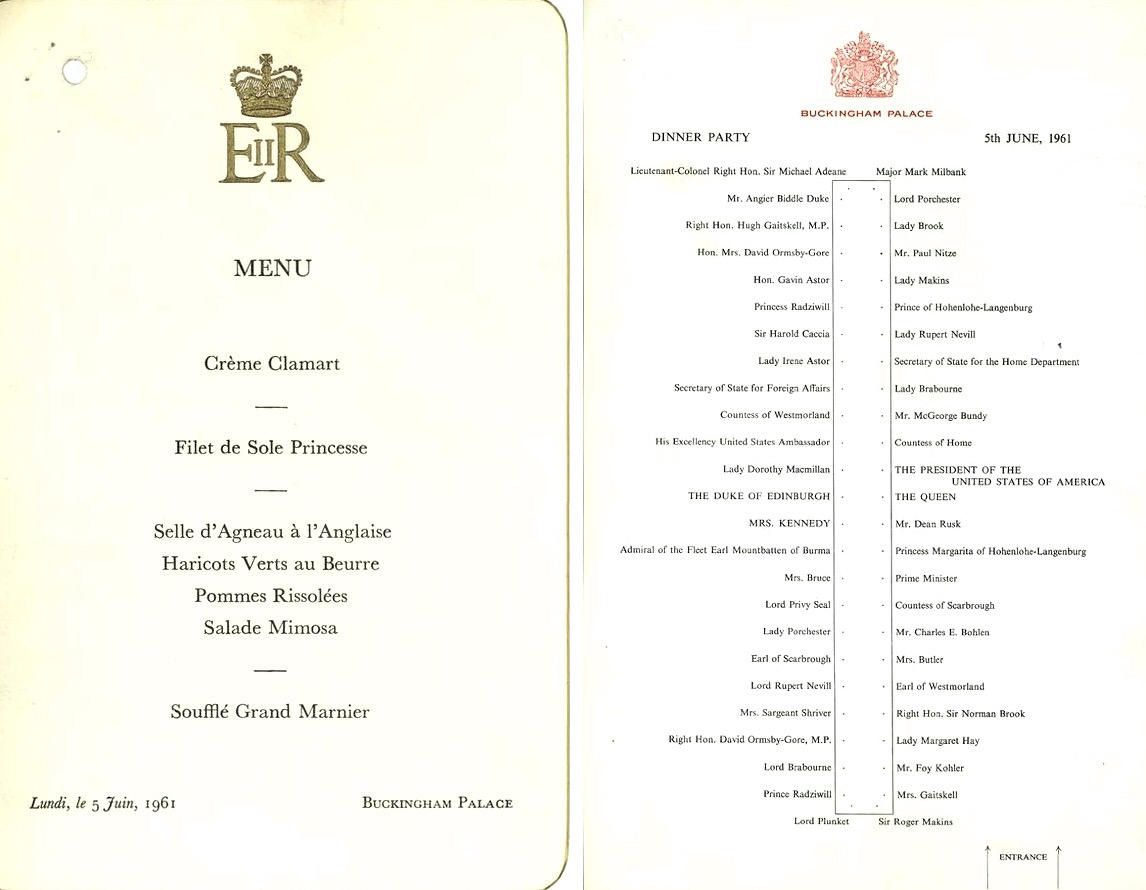 Vintage menu, Buckingham Palace 1961
