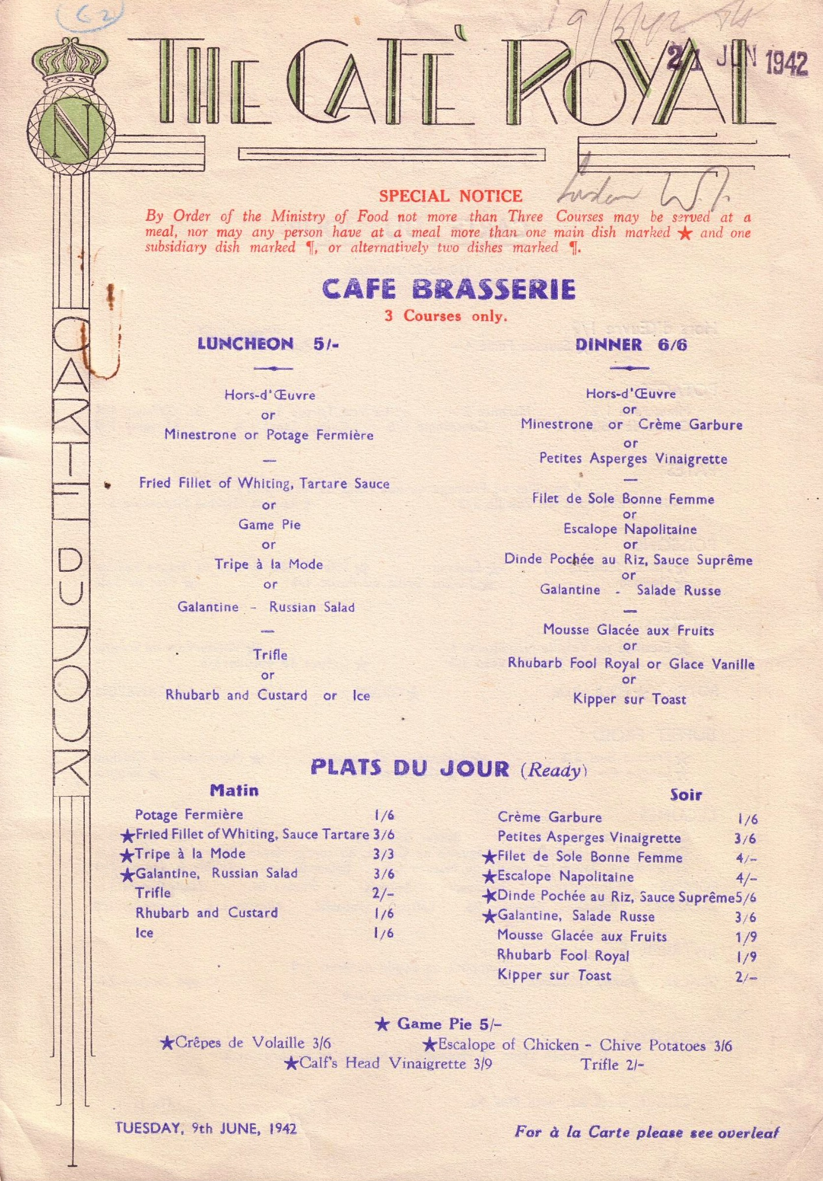Vintage menu for the Cafe Royal, London 1942