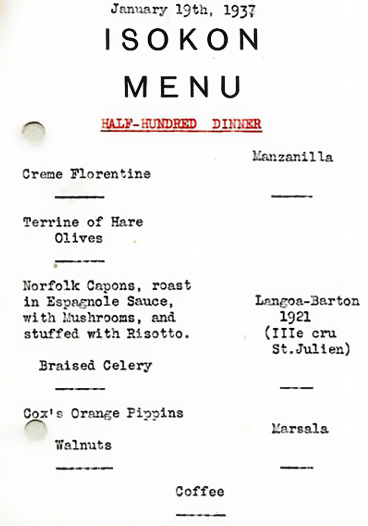 Rare Menu; the Isokon, London 1937