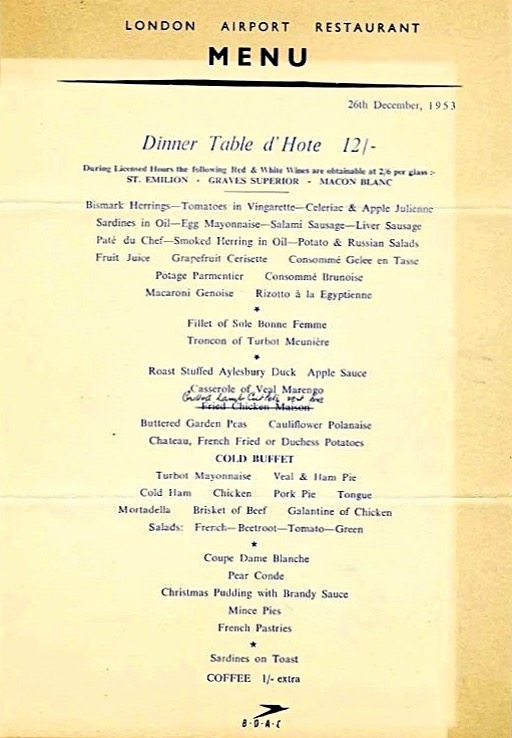 Vintage menu for London Airport, 1953