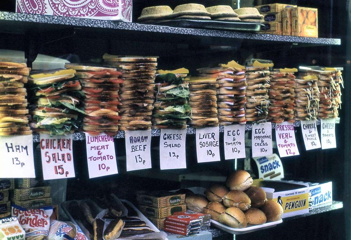 London sandwich shop, 1972