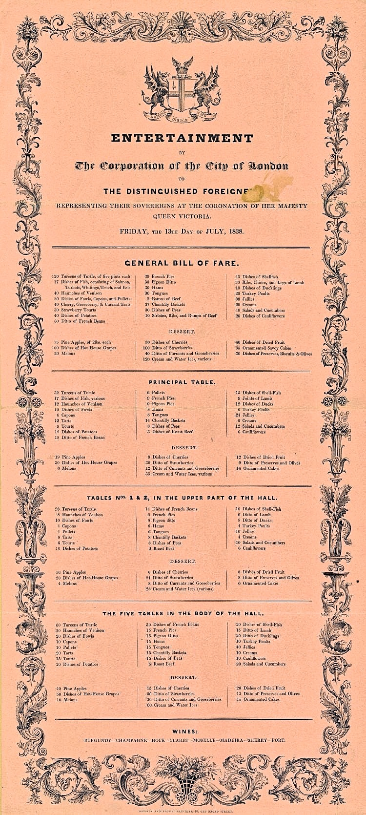 Victorian London Menu: Queen Victoria's Coronation, City of London 1838
