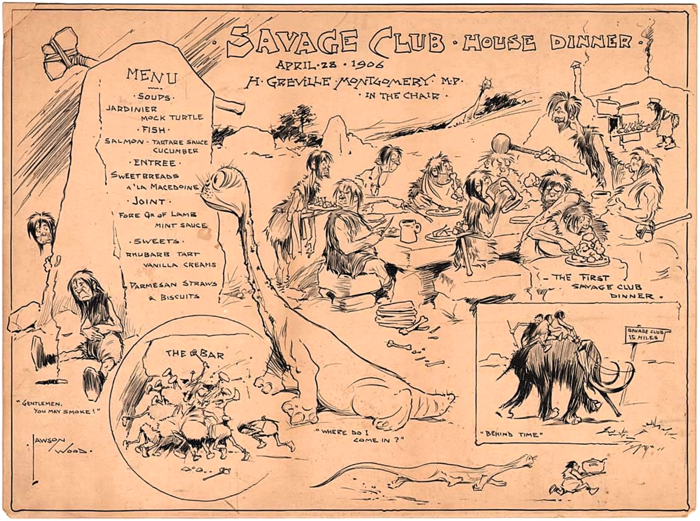 Vintage menu for the Savage Club, London 1906