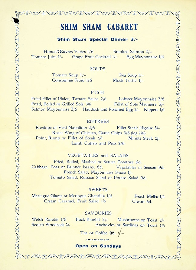 Vintage menu, the Shim Sham Cabaret, 1930s