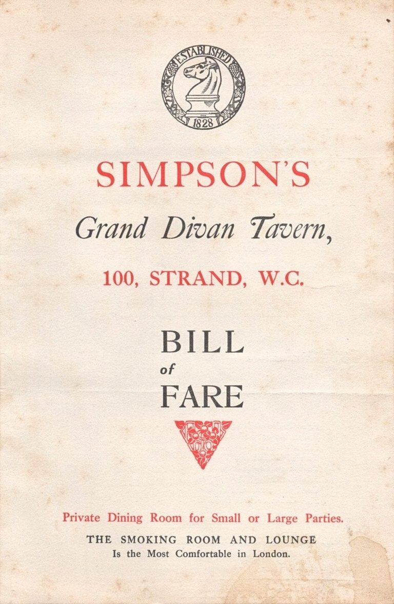 Vintage menu for Simpsons Grand Divan, 1921