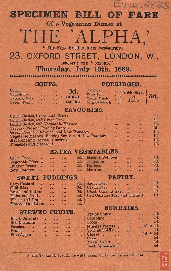 Victorian menu; The Alpha vegetarian restaurant 1889