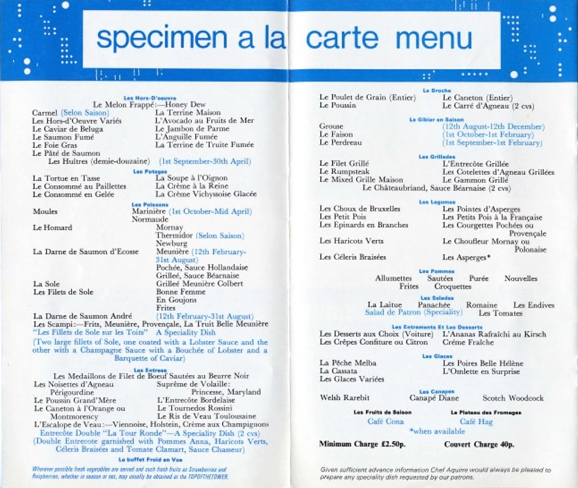 1970s menu for the Post Office Tower restaurant, London