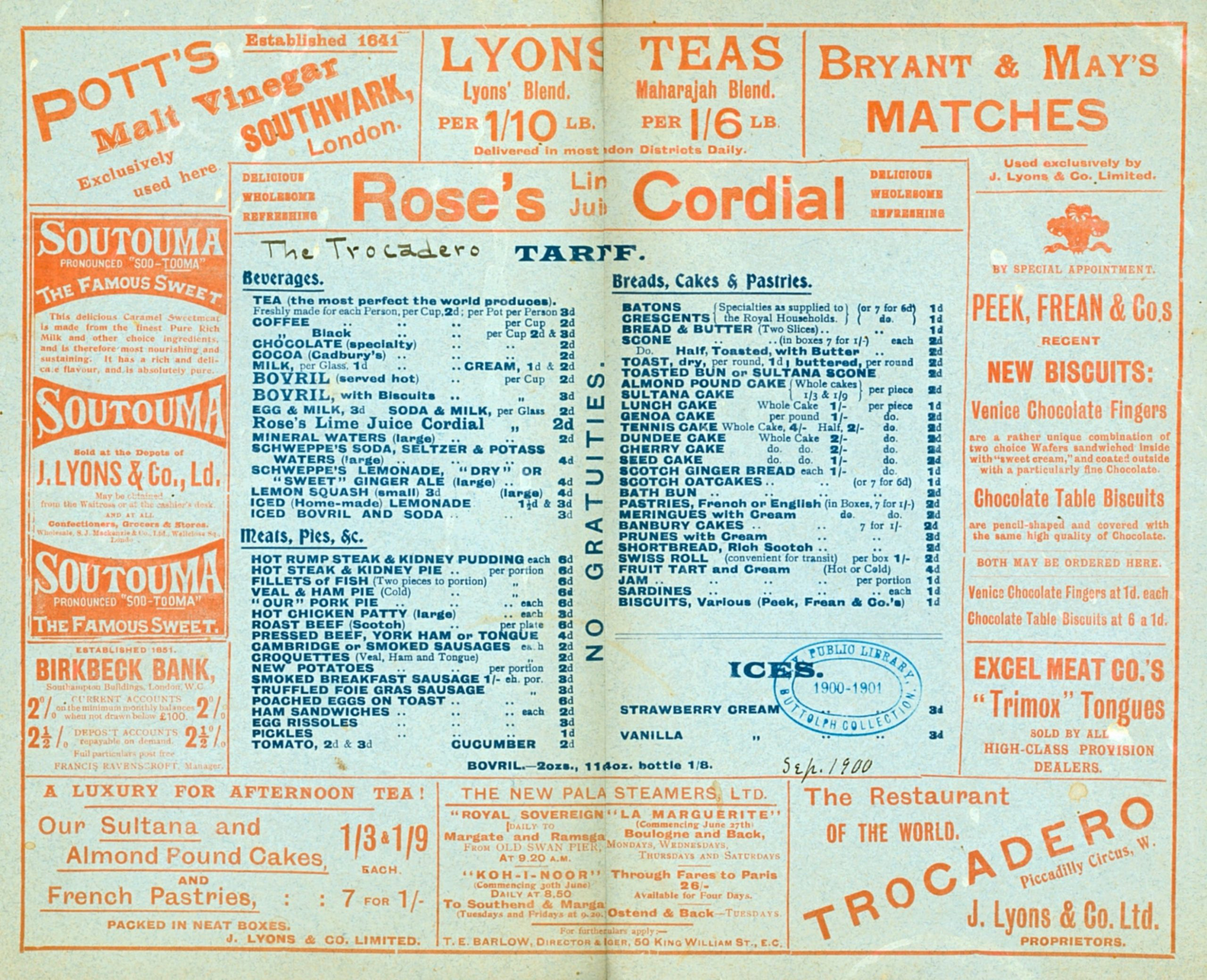 Lyons Trocadero vintage menu, London 1900