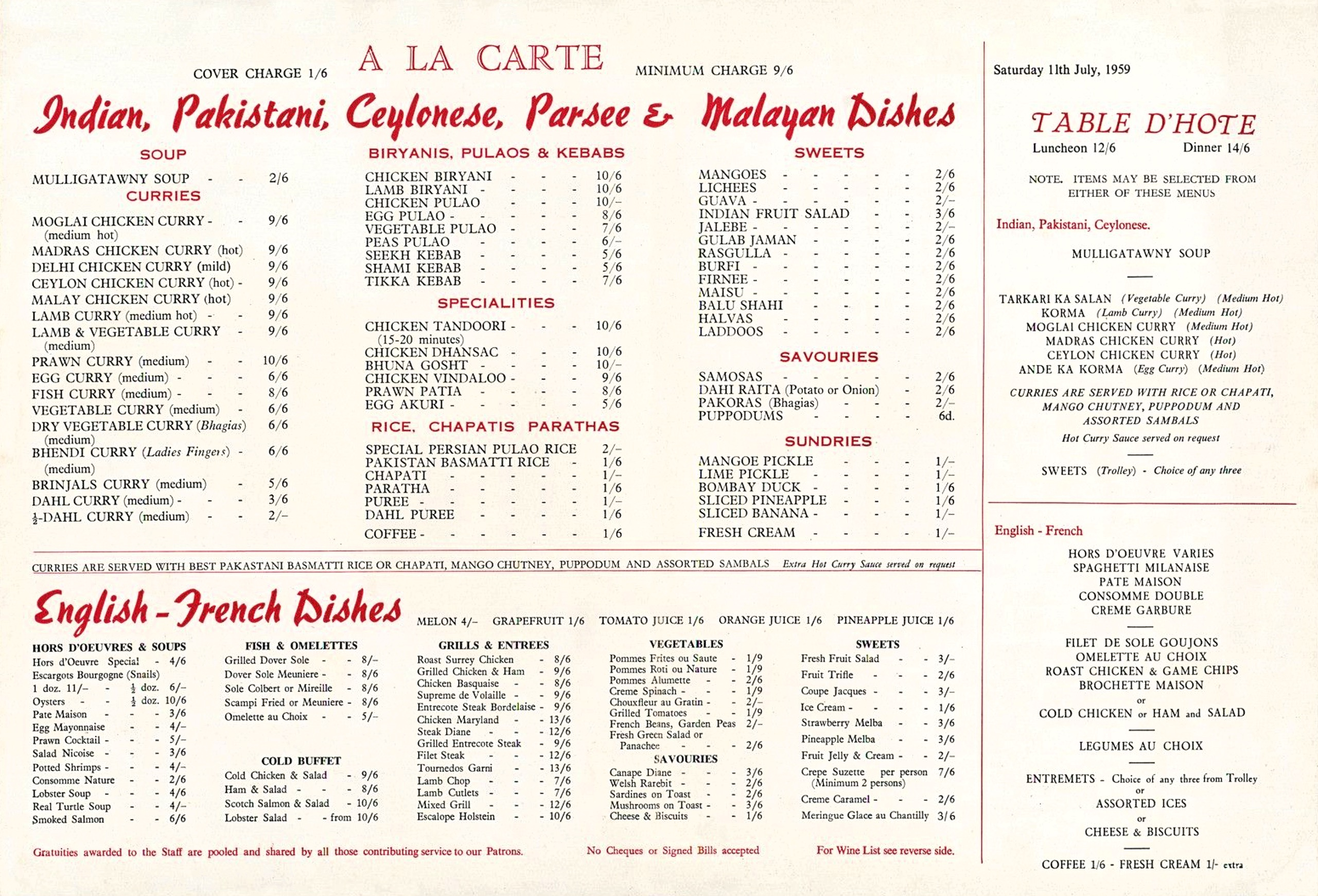 Old menu for Veeraswamy, London 1959
