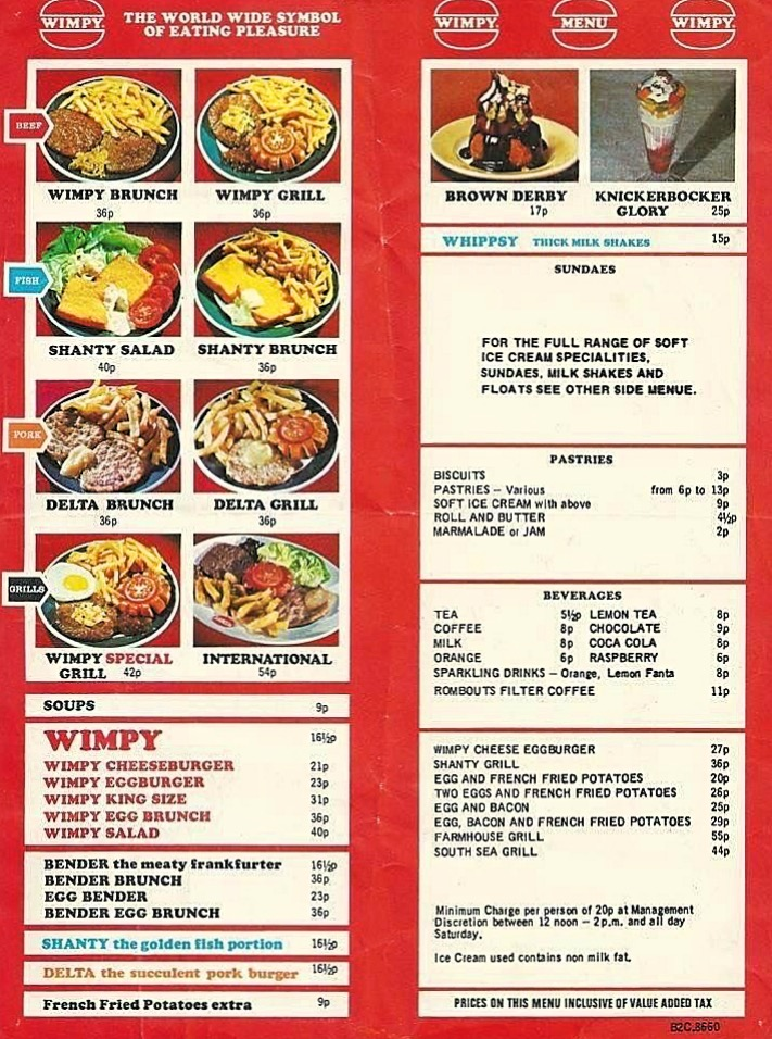 Old menu for Wimpy's, 1970s
