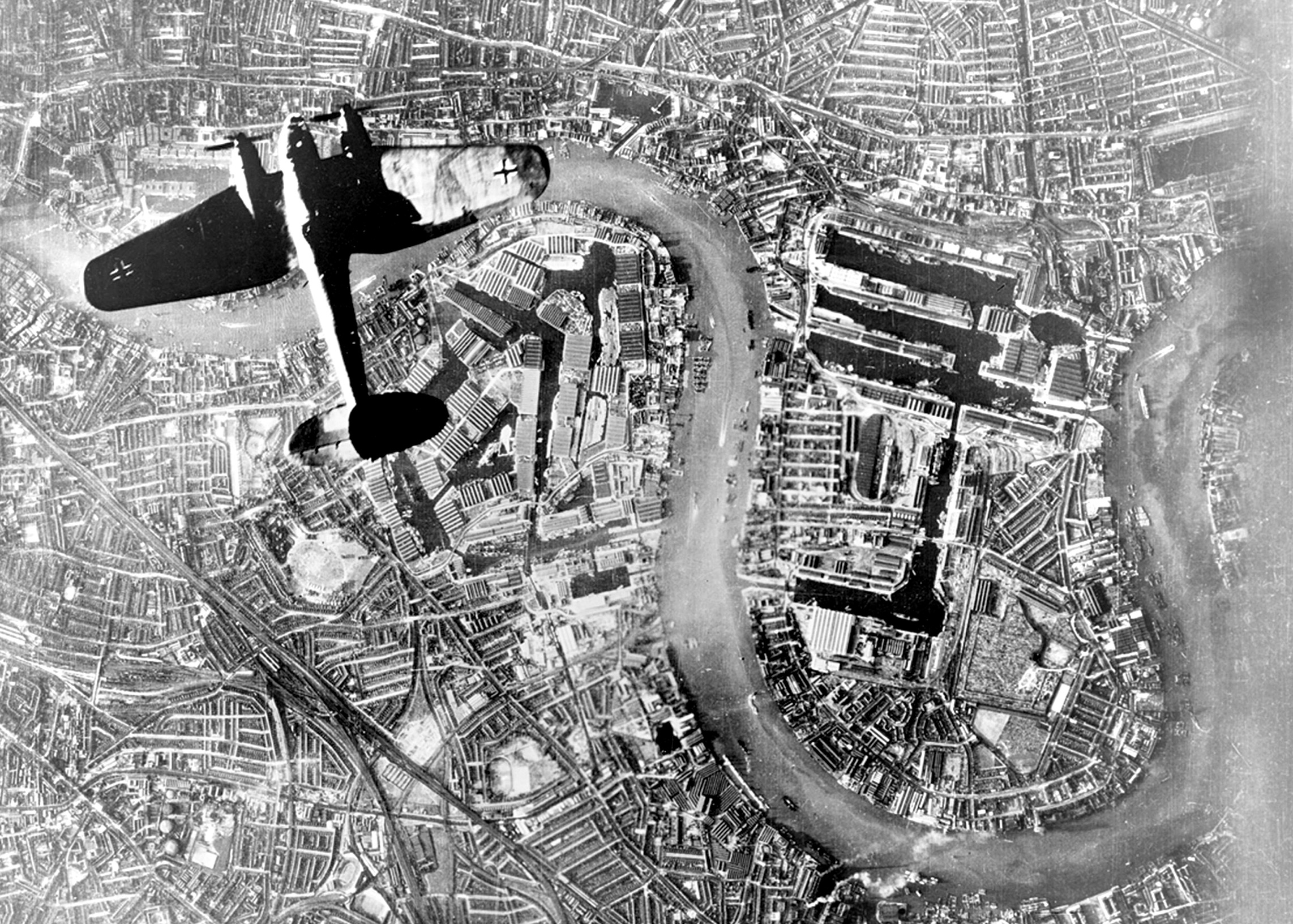 A Heinkel He 111 bomber high above Rotherhithe/Wapping on 7th September 1940