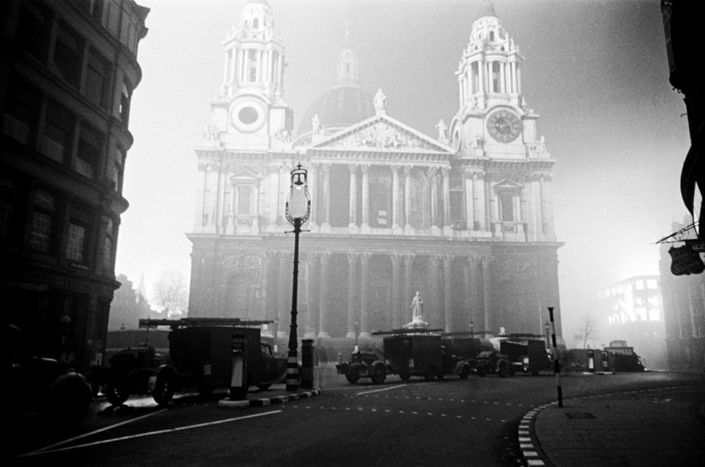St Paul's Cathedral, seen from Ludgate Hill on 29th December 1940