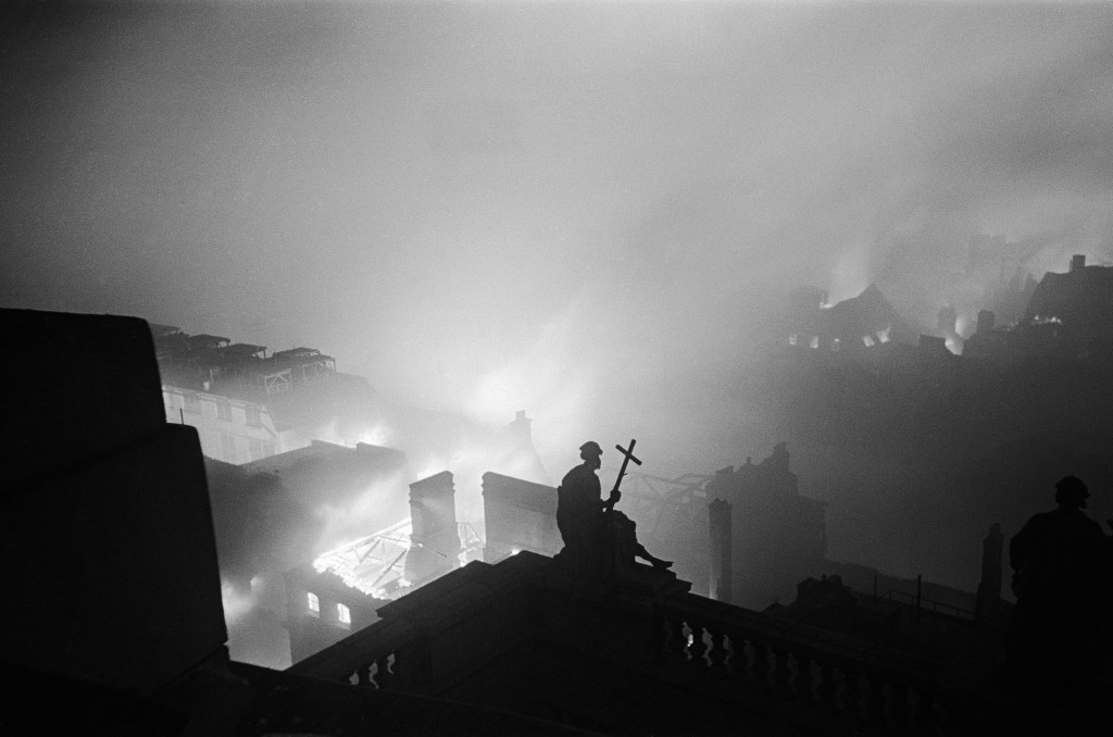 Image taken from the roof of St Paul's Cathedral on the night of December 29th 1940