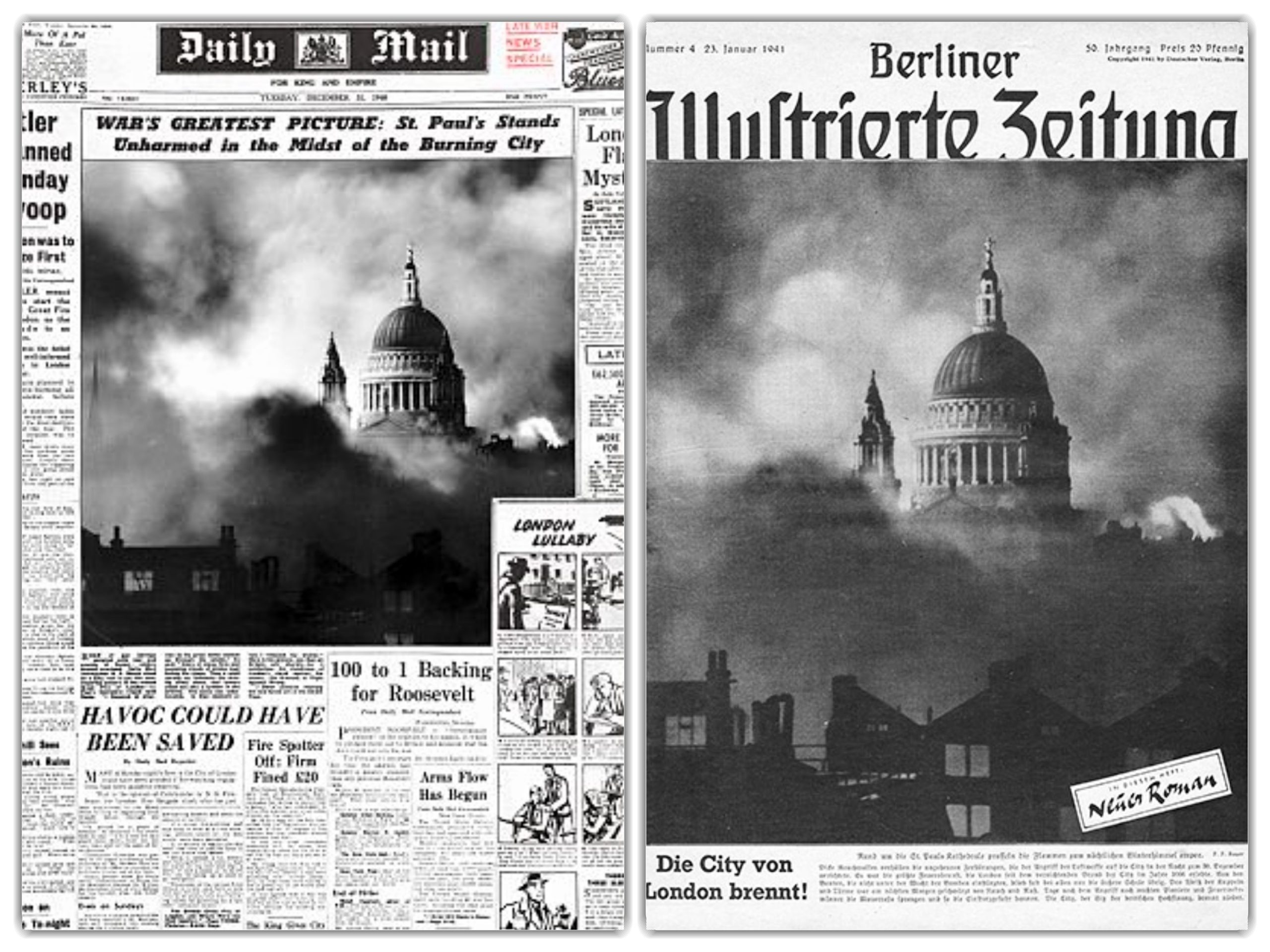 Images of St Paul's Cathedral as they appeared in the British and German press