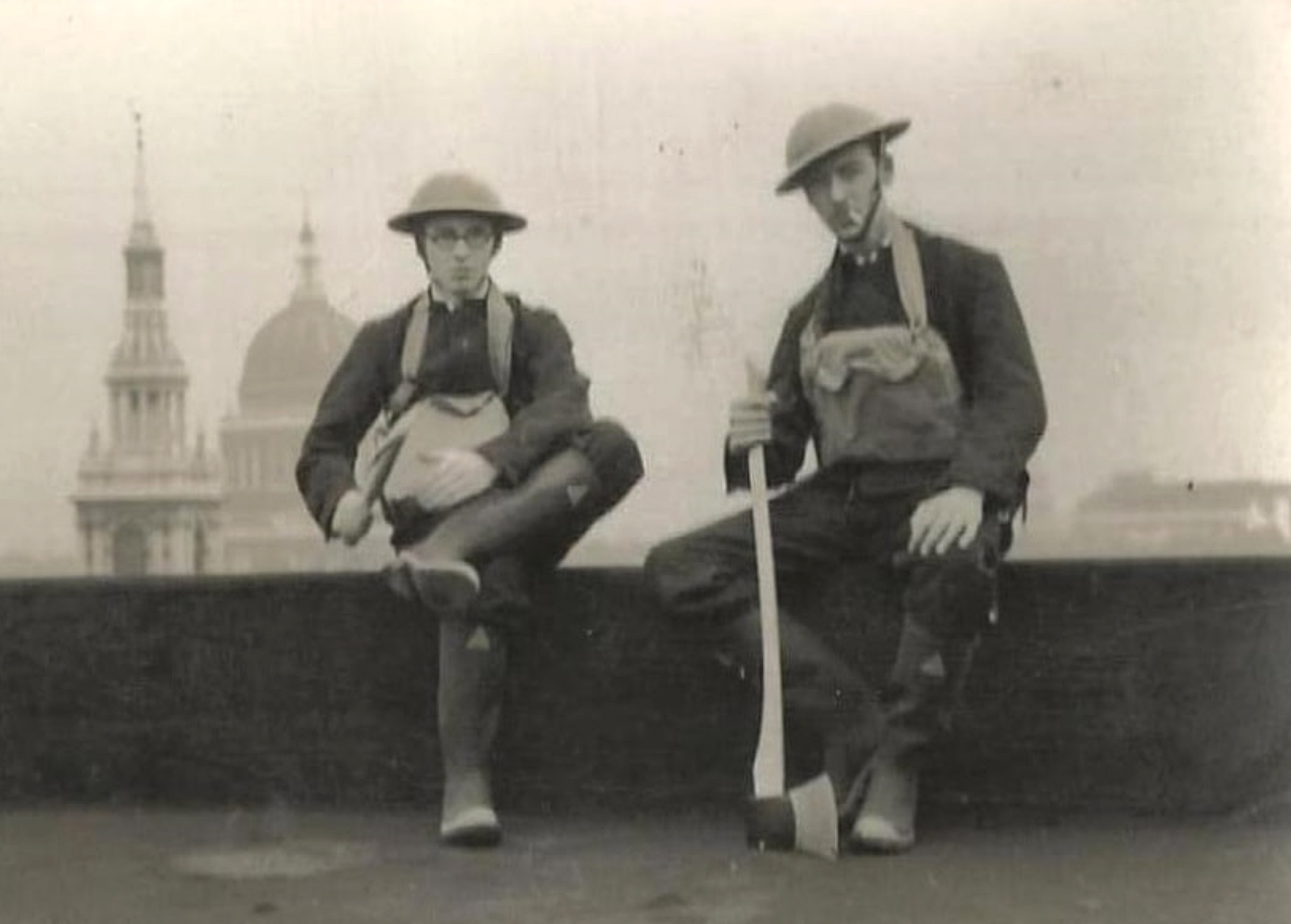 WWII London Fire Watchers, with St Paul's Cathedral in the background