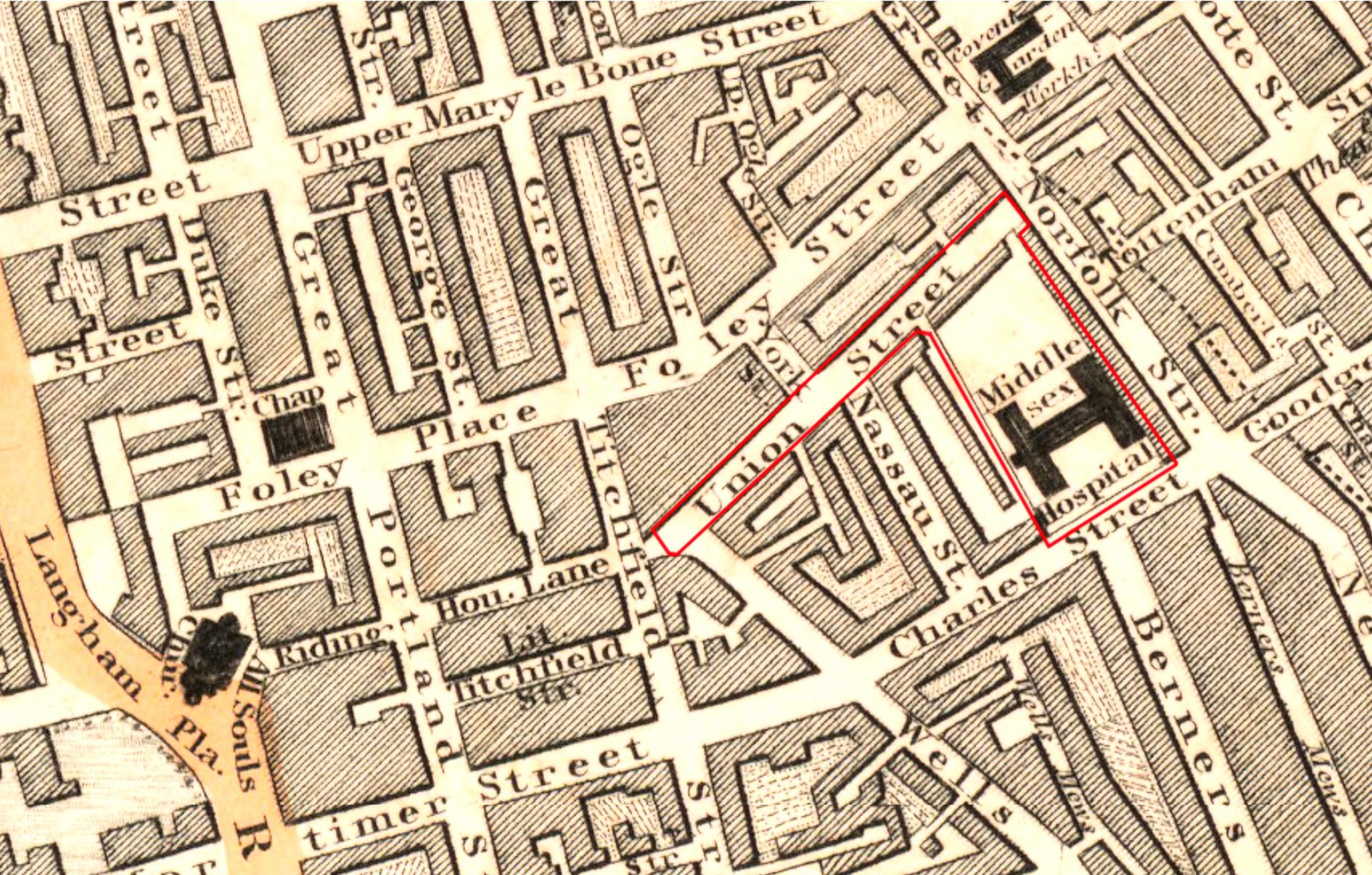 Middlesex Hospital and Union Street