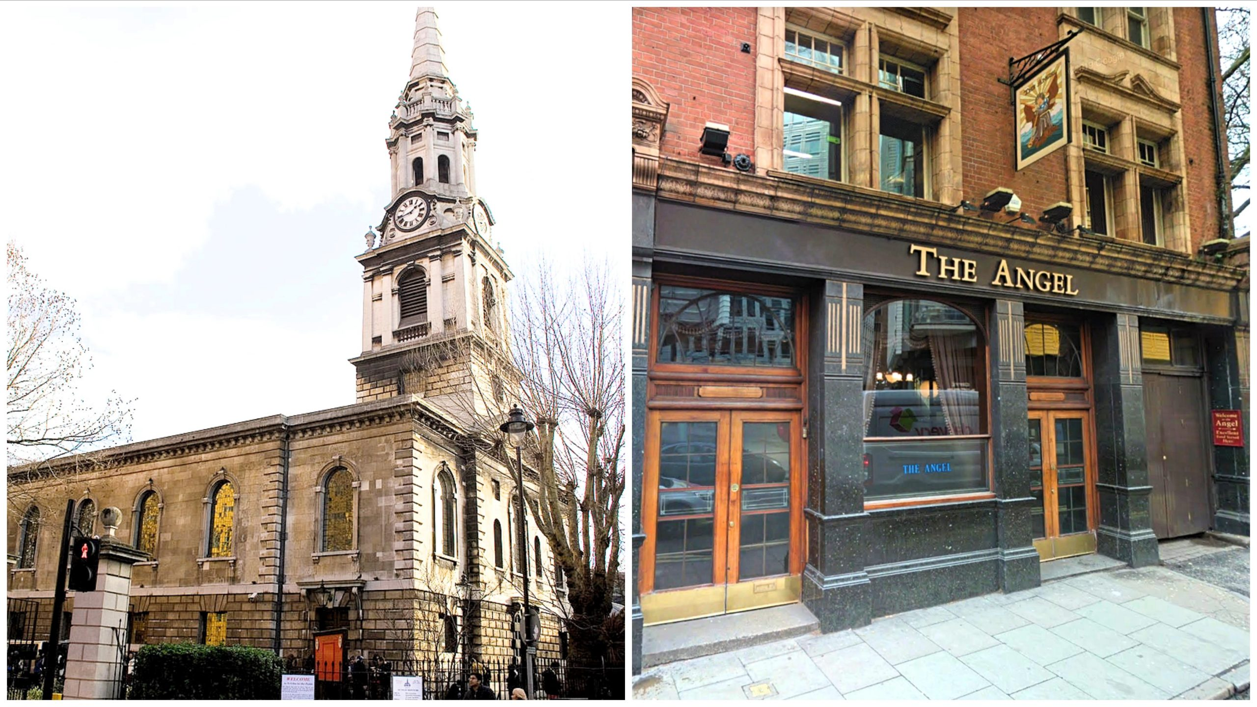 St Giles-in-the-Fields church and the Angel pub