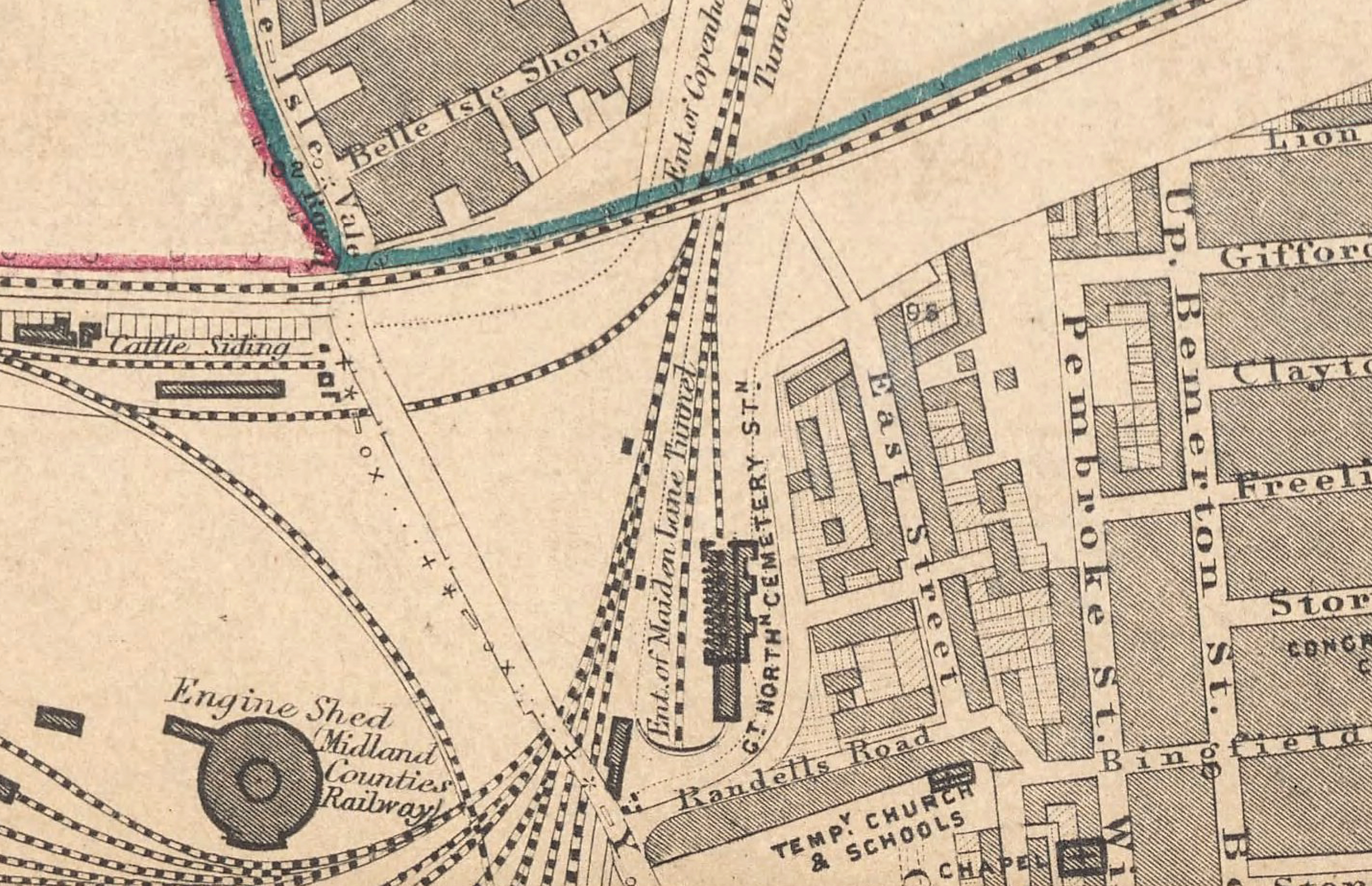Map of the Great Northern Cemetery Terminal near Kings Cross